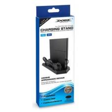 Вертикальный стенд с зарядкой двух джойстиков и вентилятором PS4 / PS4 Slim
