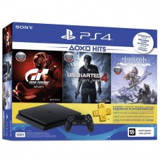 Sony PlayStation 4 Slim 500 ГБ Black + Gran Turismo Sport +Uncharted 4 + Horizon: Zero Dawn + PS Plus 90 дней CUH-2108A