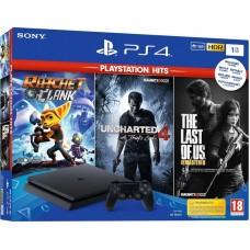 Sony PlayStation 4 Slim 1 Tb  Black + Uncharted 4 + Одни из Нас + Ratchet&Clank  CUH-2116B