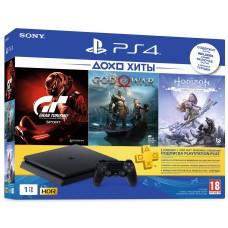 Sony PlayStation 4 Slim 1ТБ Black + Gran Turismo Sport +God of War + Horizon: Zero Dawn + PS Plus 90 дней CUH-2208B