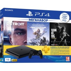Sony PlayStation 4 Slim 1ТБ Black + Detroit Стать Человеком + Одни из нас + Horizon: Zero Dawn + PS Plus 90 дней CUH-2208B