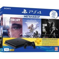 Sony PlayStation 4 Slim 1ТБ Black + Detroit Стать Человеком + Одни из нас + Horizon: Zero Dawn + PS Plus 90 дней CUH-2208B