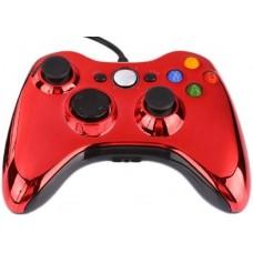 Джойстик проводной для Xbox 360 хром красный