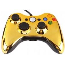 Джойстик проводной для Xbox 360 хром золотой