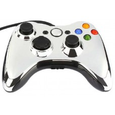 Джойстик проводной для Xbox 360 хром серебро