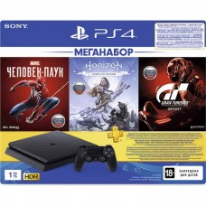 Sony PlayStation Slim 1TB Black (CUH-2208B) + Gran Turismo Sport + Horizon Zero Dawn + Marvel Человек Паук + PS Plus 3 месяца