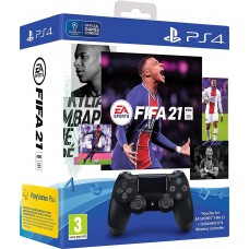 Набор:  Джойстик Dualshock 4, V2 , черный + диск Fifa 21  + бонус Ultimate Team + 14 дней PS Plus для Playstation 4