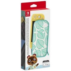 Nintendo Чехол и защитная пленка Animal Crossing: New Horizons Edition для консоли Nintendo Switch Lite белый/зеленый